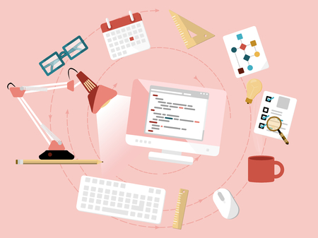 プログラミング概念。フラット デザインの web アイコン  イラスト・ベクター素材