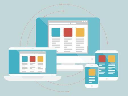 Responsive web design concept. Flat design web icons Illustration