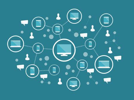 インター ネット ネットワークの概念。フラット デザインの web アイコン