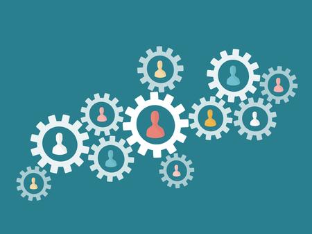 team working together: Teamwork gear concept. Flat design web icons