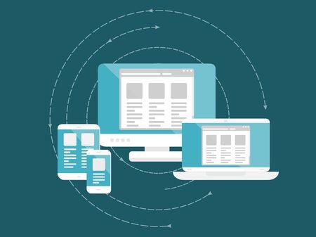 応答性と拡張性の高い web デザイン コンセプト。フラットなデザインの web アイコン