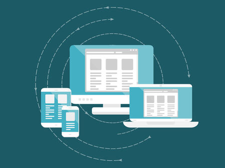 Responsive and scalable web design concept. Flat design web icons