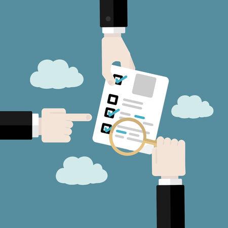 業務監査の概念。フラットなデザイン イラスト
