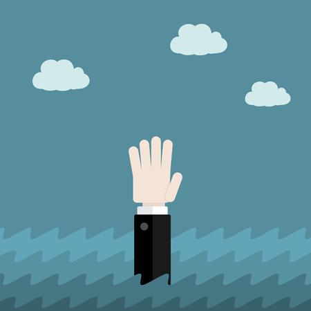 desperate: Help flat design concept . Desperate businessman drowning