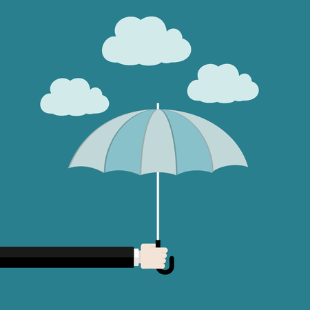 Assurance flat design concept . Hand holding umbrella Illustration