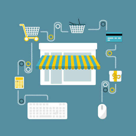 Online store flat design concept . Buying process Vector