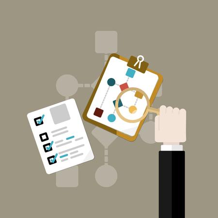 Analyzing flowchart icon. Flat design illustration
