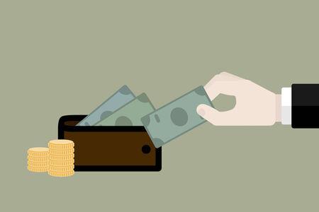 Money wallet reserve. Flat design web icons
