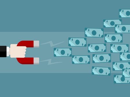 Money concept vector illustration . Attract money using magnet