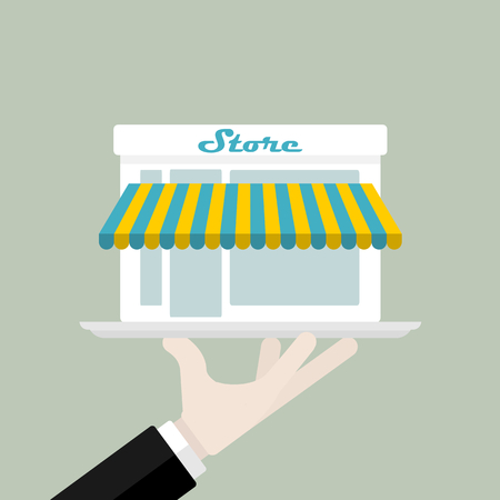 offered: Ready-made store offered on a plate vector illustration