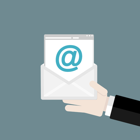 send email: Hand holding mail. Flat design web icons