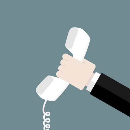 the phone rings: Hand holding white phone. Flat design web icons