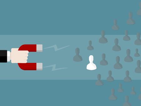 人材概念図。磁石を使用して従業員を引き付ける