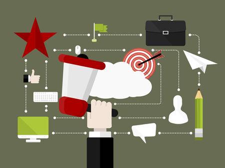 ソーシャル メディアの概念を閉じます。フラットなデザイン ベクトル イラスト