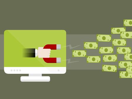 インターネットのお金の概念ベクトル イラスト。磁石を使用してお金を集める  イラスト・ベクター素材