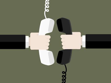 電話の概念により接続します。フラットなデザインのベクトル図