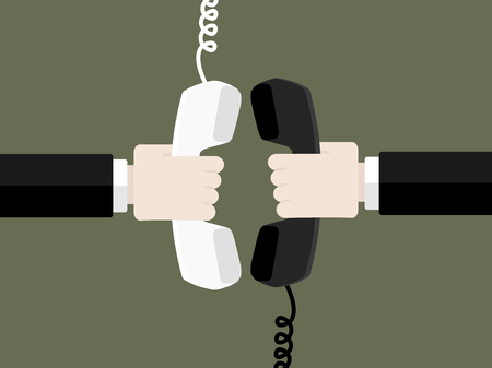 Connect by phone concept. Flat design vector illustration