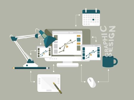 隔離されたデスクトップ コンピューターとグラフィック デザイナーの開発プロセスのフラットなデザイン モダンなベクトル イラスト概念  イラスト・ベクター素材