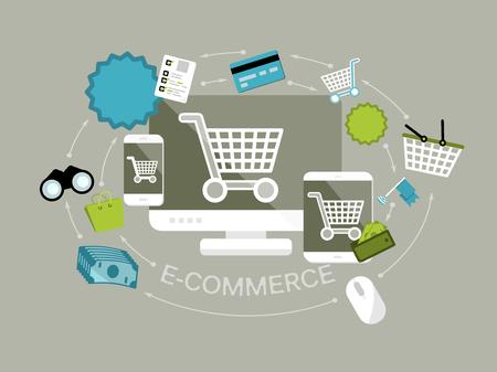 Diseño plano ilustración vectorial moderno concepto de línea proceso de tienda y de comercio electrónico con aisladas ordenador, teléfono móvil y la tableta