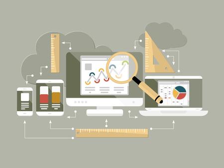 웹 사이트 구글 분석의 플랫 디자인 현대 벡터 일러스트 레이 션의 개념과 격리 된 노트북, 컴퓨터, 휴대 전화 및 태블릿 컴퓨팅 데이터 분석