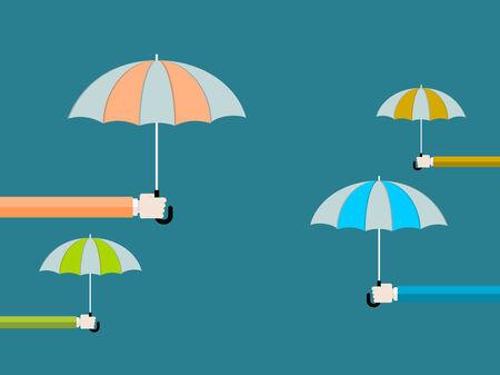 Umbrella flat design vector illustration . Hand holding umbrella