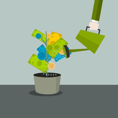 お金の概念ベクトル イラスト。カラフルな金のなる木に水をまく