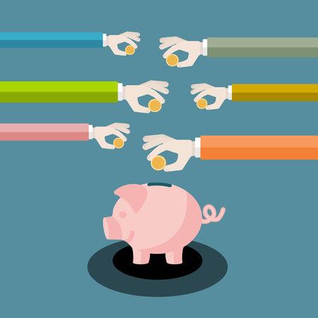 inserting: Saving money flat design vector illustration . Hands inserting coins in piggy bank
