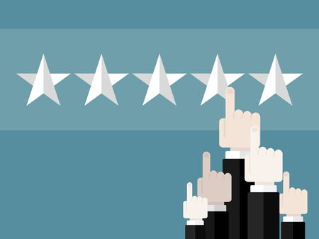 evaluating: People giving excellent rating . Flat design web icons Illustration