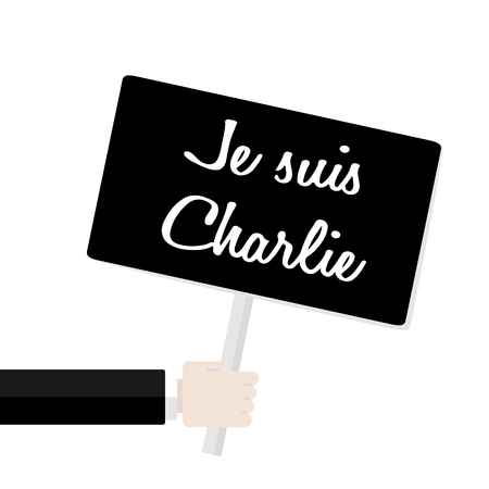 commemorative: Commemorative message paying respect to Charlie with the banner saying Je suis Charlie in French Illustration