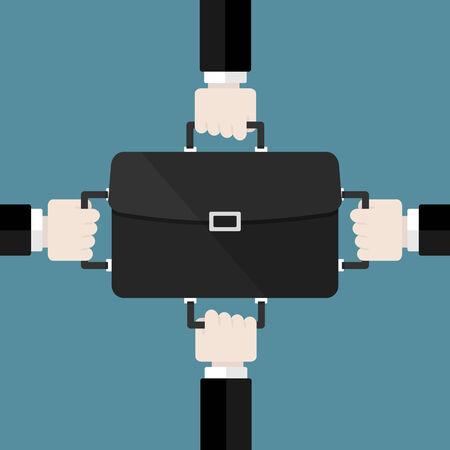 両手ビジネス スーツケース。フラット デザインの web アイコン