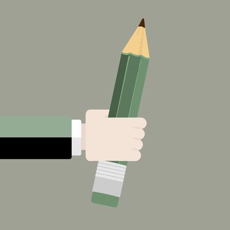 鉛筆フラット デザイン ベクトル イラスト。手持ち株クレヨン