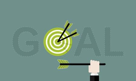Goal flat design vector illustration . Goal text with target