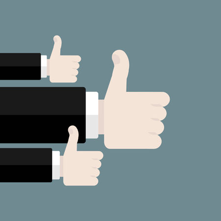 Like flat design vector illustration . Hands with thumb up Illustration