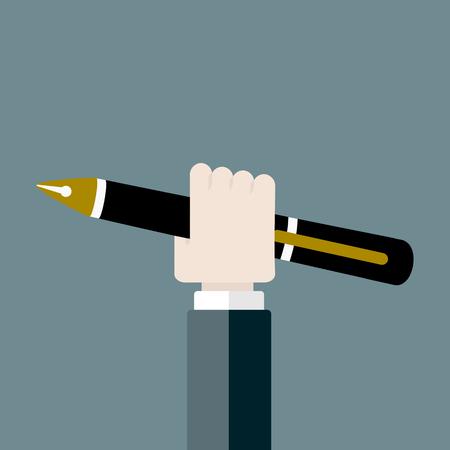 satire: Pen flat design vector illustration . Hand holding pen