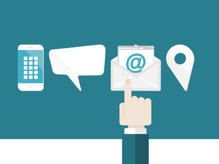 , E-posta, telefon ile bize zarfı e-posta izole elle işaret ile sohbet ya da konumu düz tasarım, modern vektör çizim kavramı