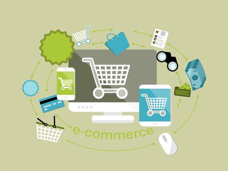 オンライン ショップや電子商取引プロセス分離のコンピューター、携帯電話、タブレットのフラット デザイン モダンなベクトル図コンセプト