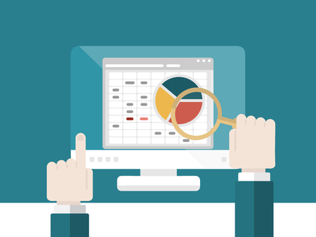 Flat design modern vector illustration concept of search engine optimization and analysis with isolated computer monitor, magnifier glass and hand pointing