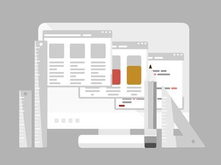 レスポンシブ web デザインとプログラミングの隔離されたコンピューターのモニター、鉛筆と定規のフラットなデザイン モダンなベクトル イラスト