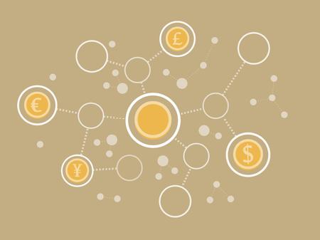 群衆の分離お金通貨のコインやネットワークと資金調達のフラット デザイン モダンなベクトル図コンセプト  イラスト・ベクター素材