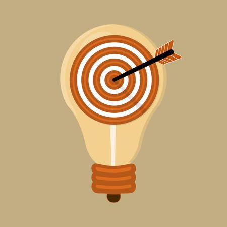 フラットなデザイン モダンなベクトル イラスト概念分離の電球とターゲットの矢印アイコンとの考えの  イラスト・ベクター素材