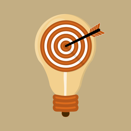 Flat design modern vector illustration concept of idea with isolated light bulb and target arrow icon Illustration