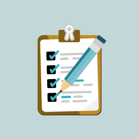 reminder icon: Flat design modern vector illustration concept of to do list with isolated check boxes and crayon icon