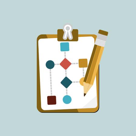 ビジネス作業フロー プロセス分離のフローチャートとクレヨンのアイコンのフラットなデザイン現代ベクトル図の概念