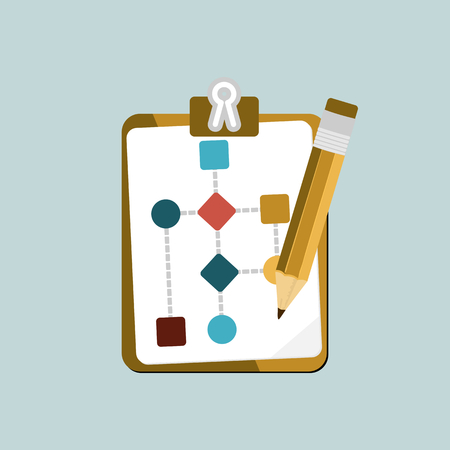 work flow: Flat design modern vector illustration concept of business work flow process with isolated flowchart and crayon icons