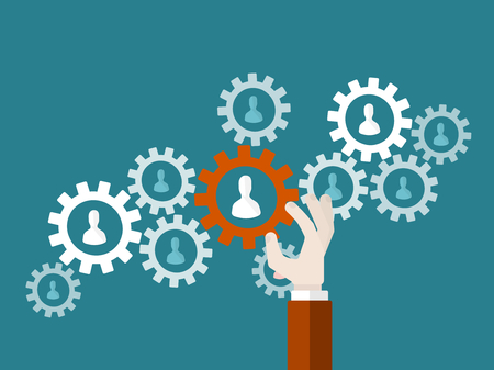 Flat design modern vector illustration concept of business teamwork with isolated hand holding a cogwheel and avatar silhouettes