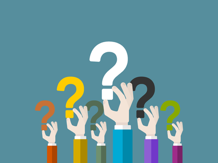 speech marks: Flat design modern vector illustration concept of questioning with isolated hands holding question marks