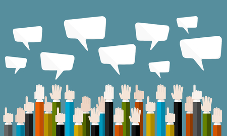 Flat design modern vector illustration concept of business auction with isolated hands and speech bubbles