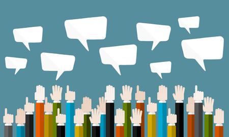 veiling: Platte ontwerp moderne vector illustratie concept van business veiling met geïsoleerde handen en tekstballonnen