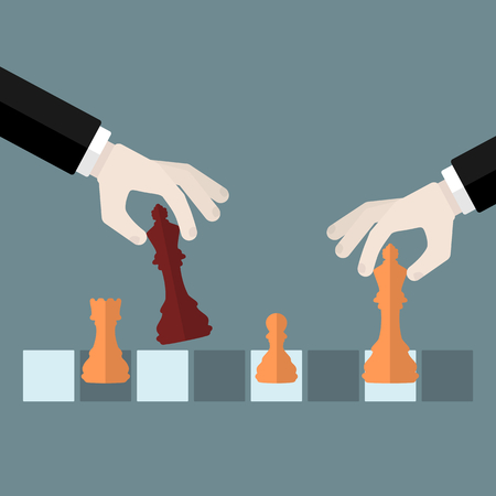 Flat design modern vector illustration concept of checkmate with isolated hands holding chess pieces over chessboard Illustration