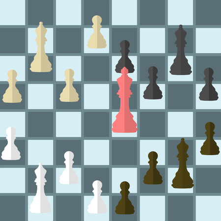Flat design modern vector illustration concept of betrayal with isolated chess king under attack by bishop armies